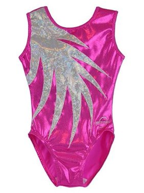 O3GL059 Obersee Girl's Girls Gymnastics Leotard - Pink Fern