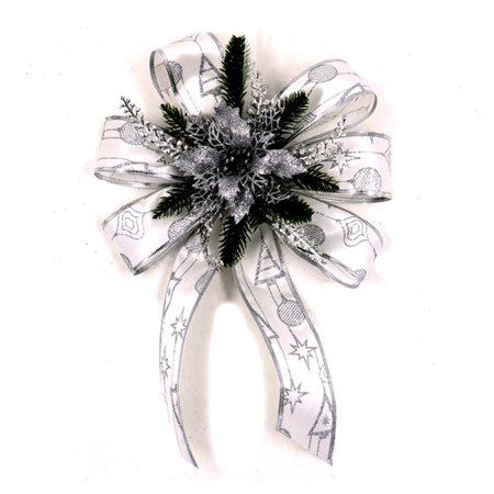 - ALEKO Statement Holiday Bow Christmas Swag - White and Silver