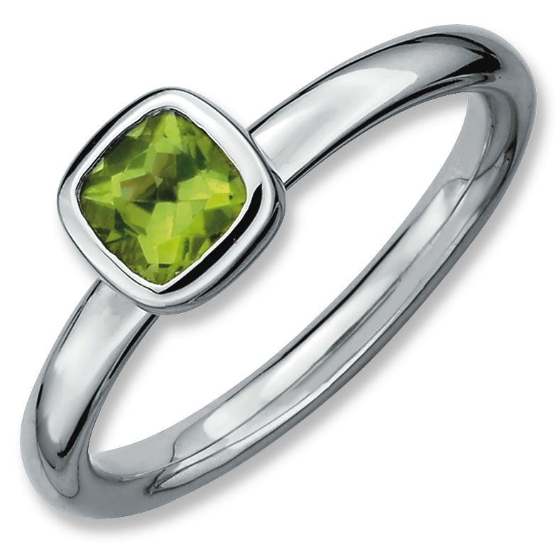 Sterling Silver Stackable Expressions Cushion Cut Peridot Ring