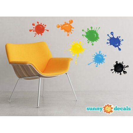 Decal Sticker Set (Paint Splatter Fabric Wall Decals - Set of 7 Ink Splotch Wall Stickers - Non-Toxic, Removable, Reusable, Respositionable by Sunny)