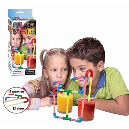 Build Your Own Straw Kit - Fun Drinking Straw, Kids Toy - Construct A Crazy Way to Drink Your Favorite Beverage, Includes 104 pieces: 92 straws and 12 connectors By Play Visions (Straws And Connectors)