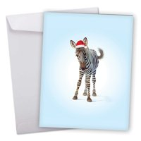 xmas zoo babies zebra' cute jumbo christmas card with envelope 8.5 x 11 inch - adorable baby zebra foal colt wearing santa hat design blue background stationery - happy holidays greetings j6726axsg