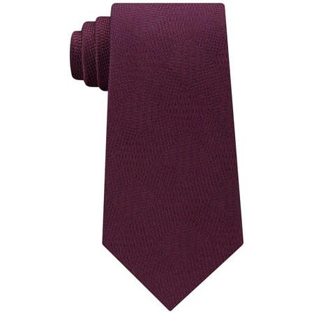 Calvin Klein Men's Intersect Diamond Silk Tie Red Merlot Wine Necktie Diamond Patterned Silk Tie