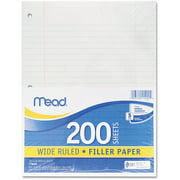 Mead Filler Paper, Wide Ruled, 3-Hole Punched, 10-1/2 x 8, 200 Sheets Per Pack