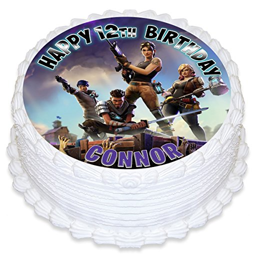 Fortnite Battle Royale Cake Image Personalized Topper Icing Sugar Paper 8 Round Circle