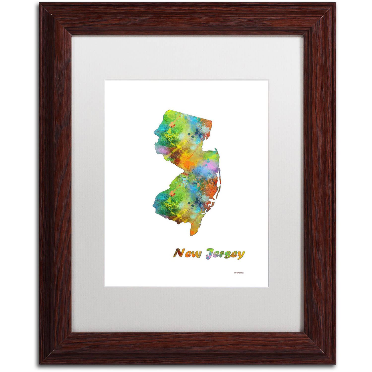 "Trademark Fine Art ""New Hampshire State Map-1"" Canvas Art by Marlene Watson, White Matte, Wood Frame"
