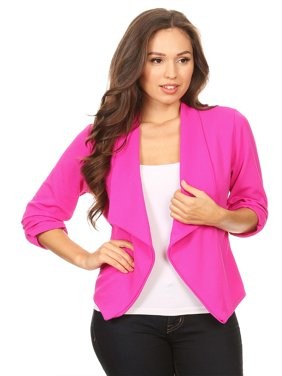 8ebbc7f83f26d Product Image MOA COLLECTION Women s Solid Print 3 4 Sleeve Open Front  Casual Cardigan Blazer Jacket
