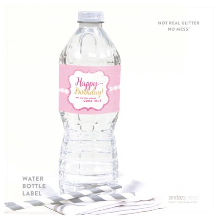 Sparkle Princess Happy Birthday Water Bottle Labels, 8-Pack