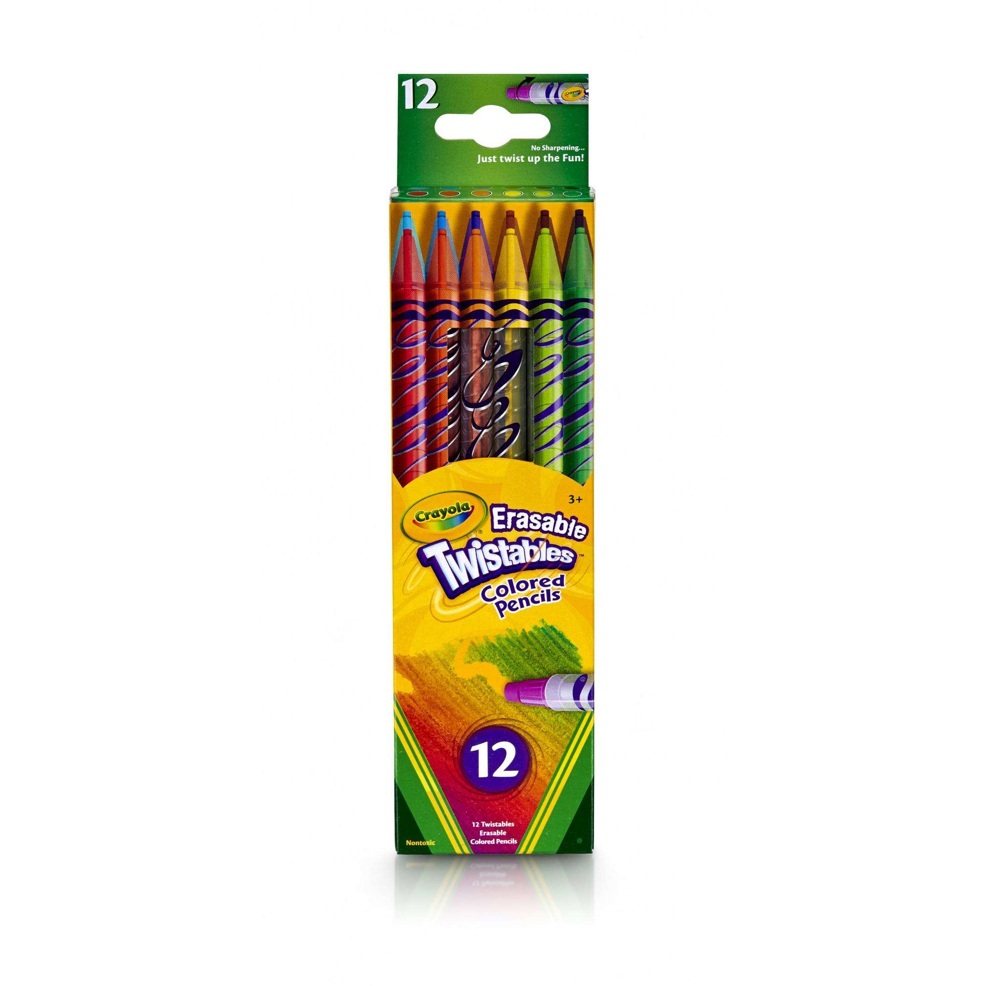 Crayola Eraseable Twistables Colored Pencils, 12 Count