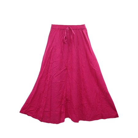 Mogul Womans Skirt Stonewashed Rayon Embroidered PINK Boho Peasant Skirts](Peasant Skirt)
