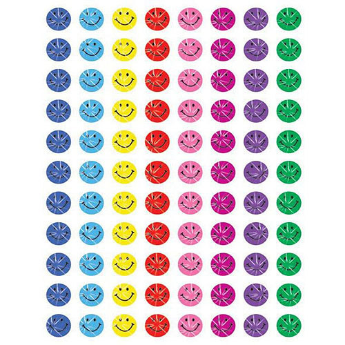 "School Smart Sparkle Smiles Self-Stick Stickers, 0.37"", Pack of 2640"