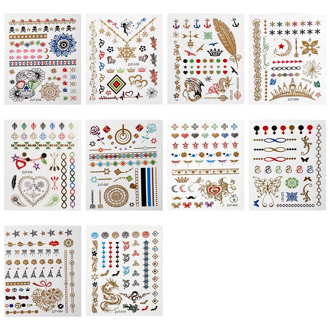 BMC Fashionable 10pc Colorful Mixed Metallic Design Temporary Hand Tattoo Bundle