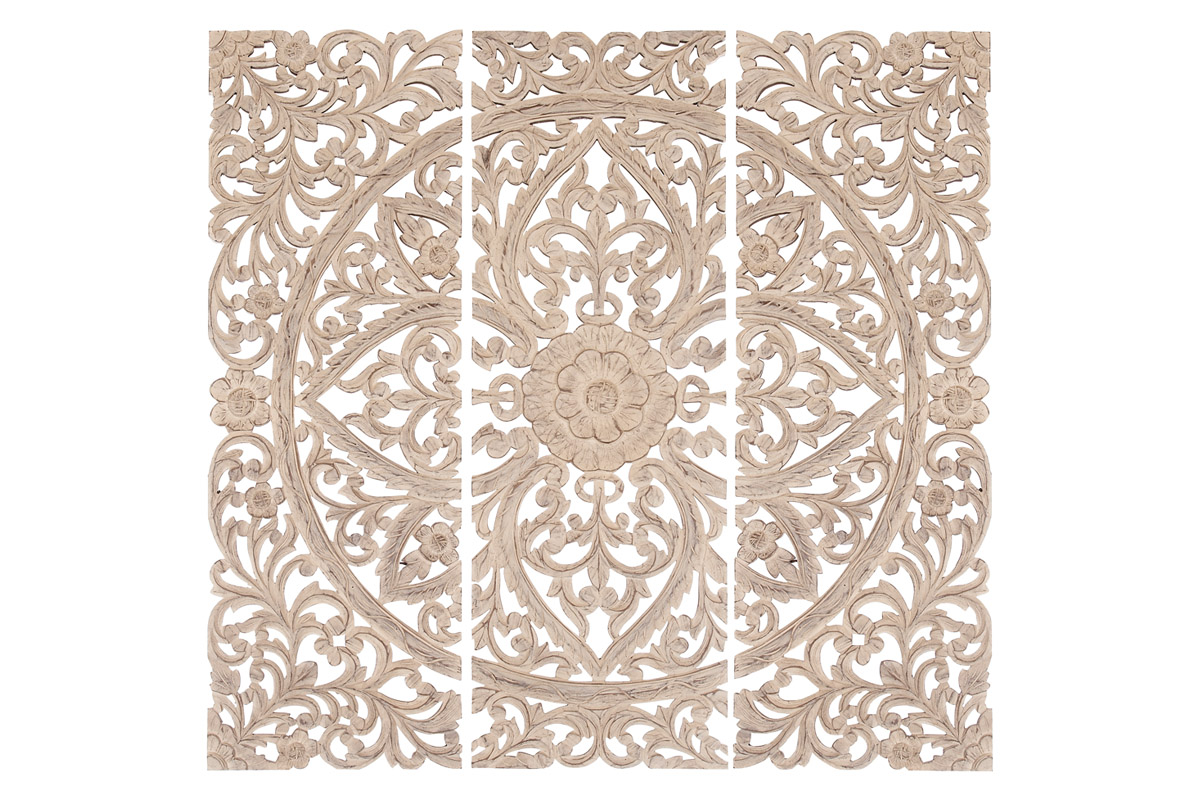 "DecMode 16"" x 48"" Extra Large Hand-Carved Distressed White Wood Wall Panels w/ Floral & Acanthus Designs 