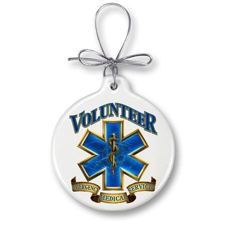 Volunteer Ems Gold Shield Christmas Tree Ornaments