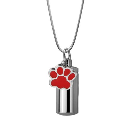 Anavia Red Dog Paw Print Charm Silver Cylinder Funeral Urn For Ashes Handcrafted with Free Funnel Kit and Velvet Jewelry Box (Red Figurine Pet Cremation Urn)