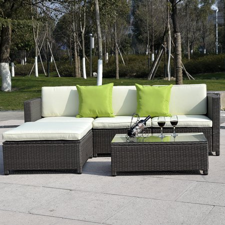 Costway 5pc Outdoor Patio Sofa Set Sectional Furniture Pe Wicker Rattan Deck Couch Brown