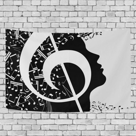 Music Note Decorations (MYPOP Music Note Tapestry Wall Hanging Decoration Home Decor Living Room Dorm 90 x 60)