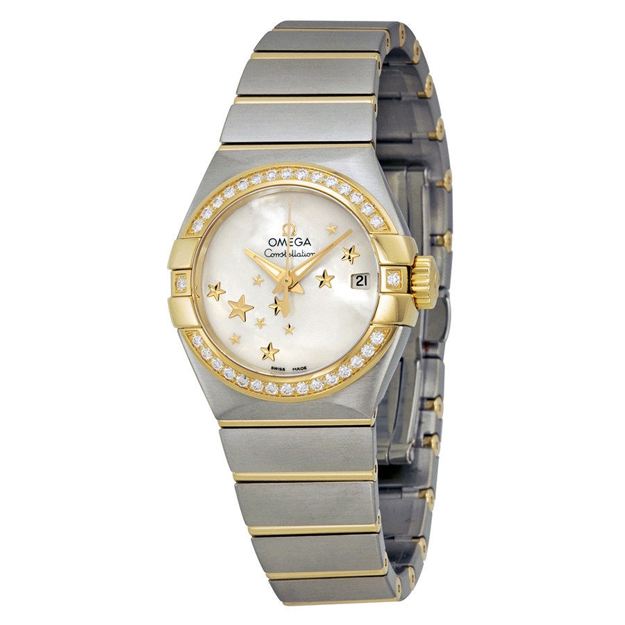 Omega Constellation Moth of Peal Stainless Steel and Yell...