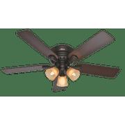 "Hunter 52"" Reinert Premier Bronze Ceiling Fan with Light Kit and Pull Chain"