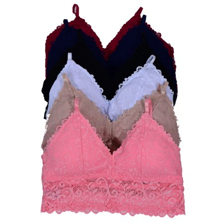f6c49c65f7fd66 Pink - Women 6 Pack Full Lace Sexy Bralette with Padding