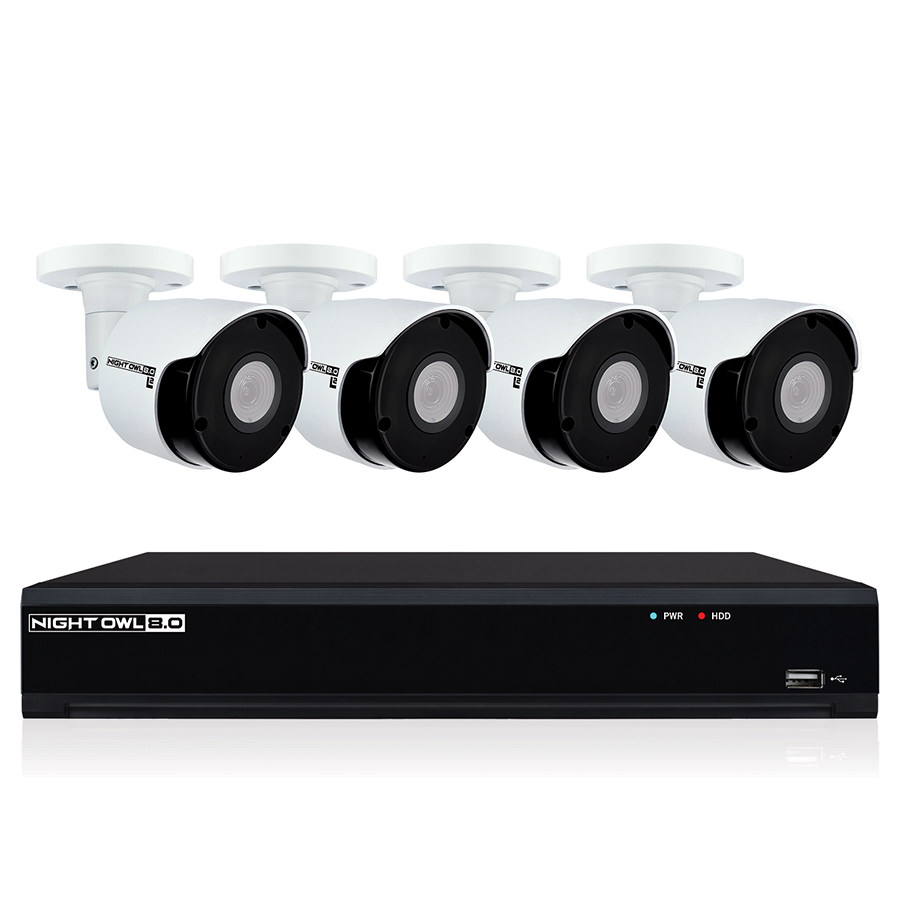 Night Owl 8-Channel 4K UHD Wired Smart Security NVR w/ 2 TB Local Storage, 4-4K UHD IP Camera Security System