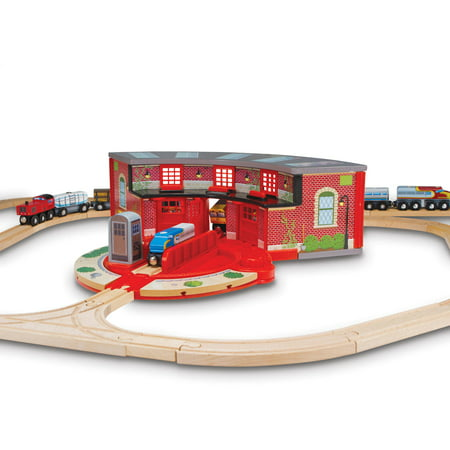Melissa & Doug Roundhouse and Turntable Train Accessory Set