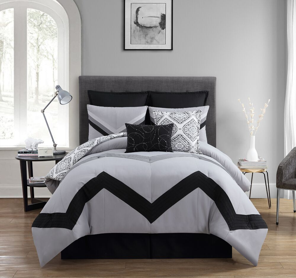 Marcella At Town Center: Luxury Home, 8-Piece Marcella Comforter Set,Grey