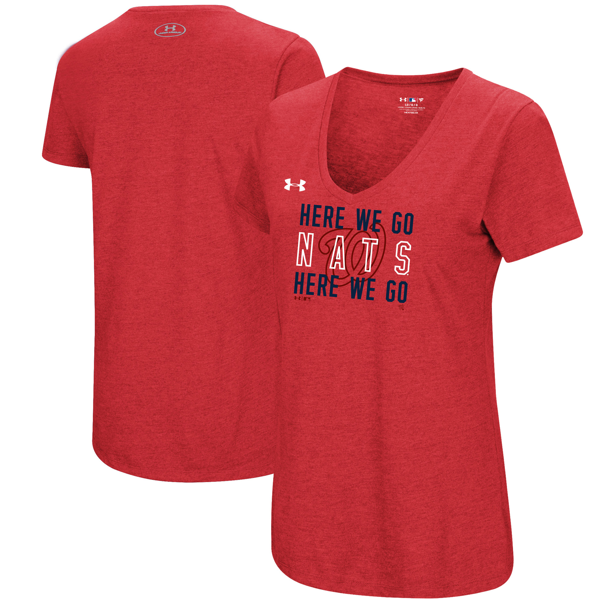 Washington Nationals Under Armour Women's Chant Tri-Blend V-Neck T-Shirt - Heathered Red
