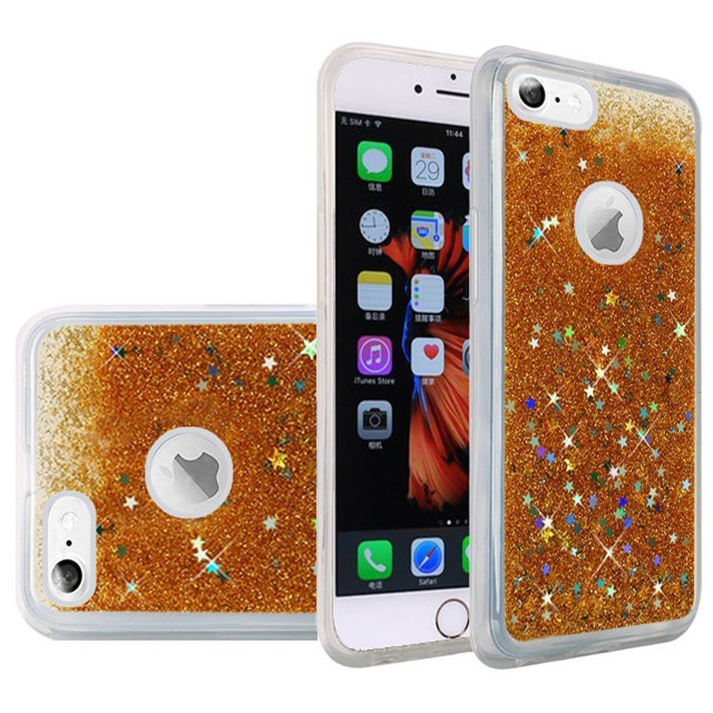 iPhone 6s Plus Case, iPhone 6 Plus Case, by Insten Liquid Quicksand Glitter Fused Flexible Hybrid TPU Cover Case For Apple iPhone 6s Plus / 6 Plus - Gold