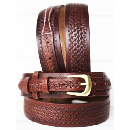 "PRORIDER Mens Western RANGER BELT 32""-72"" Tooled Leather Basket Weave 26Ranger03"
