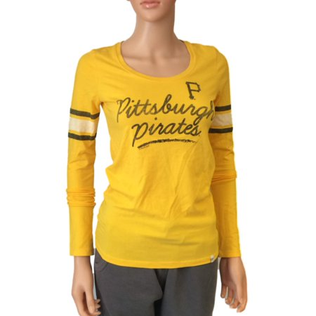 Pittsburgh Pirates 47 Brand WOMENS Yellow Scoop Neck Long Sleeve T-Shirt (S) by