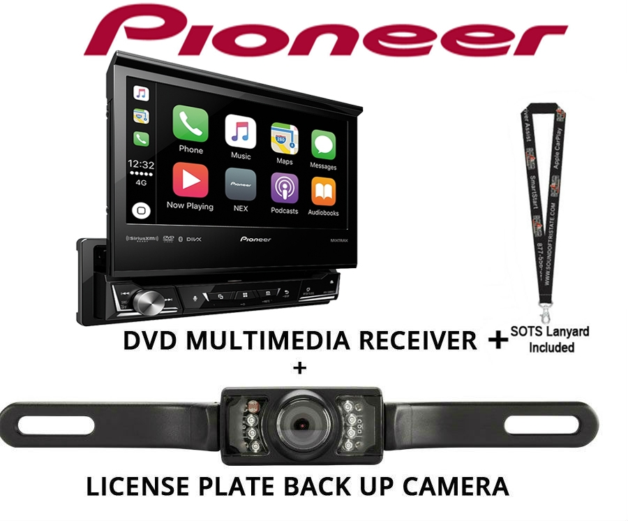 """Pioneer AVH3400NEX Single Din Multimedia Player with 7"""" flip out screen with License Plate Stye Backup Camera by Pioneer"""