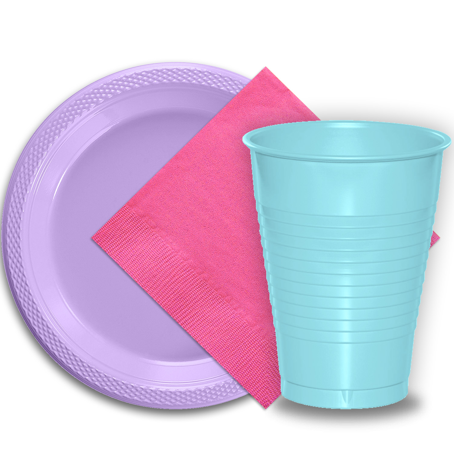 "50 Lavender Plastic Plates (9""), 50 Light Blue Plastic Cups (12 oz.), and 50 Hot Pink Paper Napkins, Dazzelling Colored Disposable Party Supplies Tableware Set for Fifty Guests."