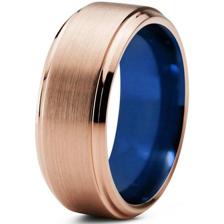 Tungsten Wedding Band Ring 8mm for Men Women Blue 18k Rose Gold Plated Beveled Edge Brushed Polished Lifetime Guarantee