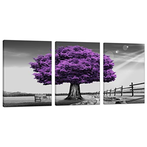 Huadaoart Wsa0910 Canvas Prints Purple Tree Framed Canvas Wall Art For Home Decor Perfect 3 Panels Wall Purple Scenery Decorations For Living Room Bedroom Office Each Panel 12x16inch Purple Walmart Canada