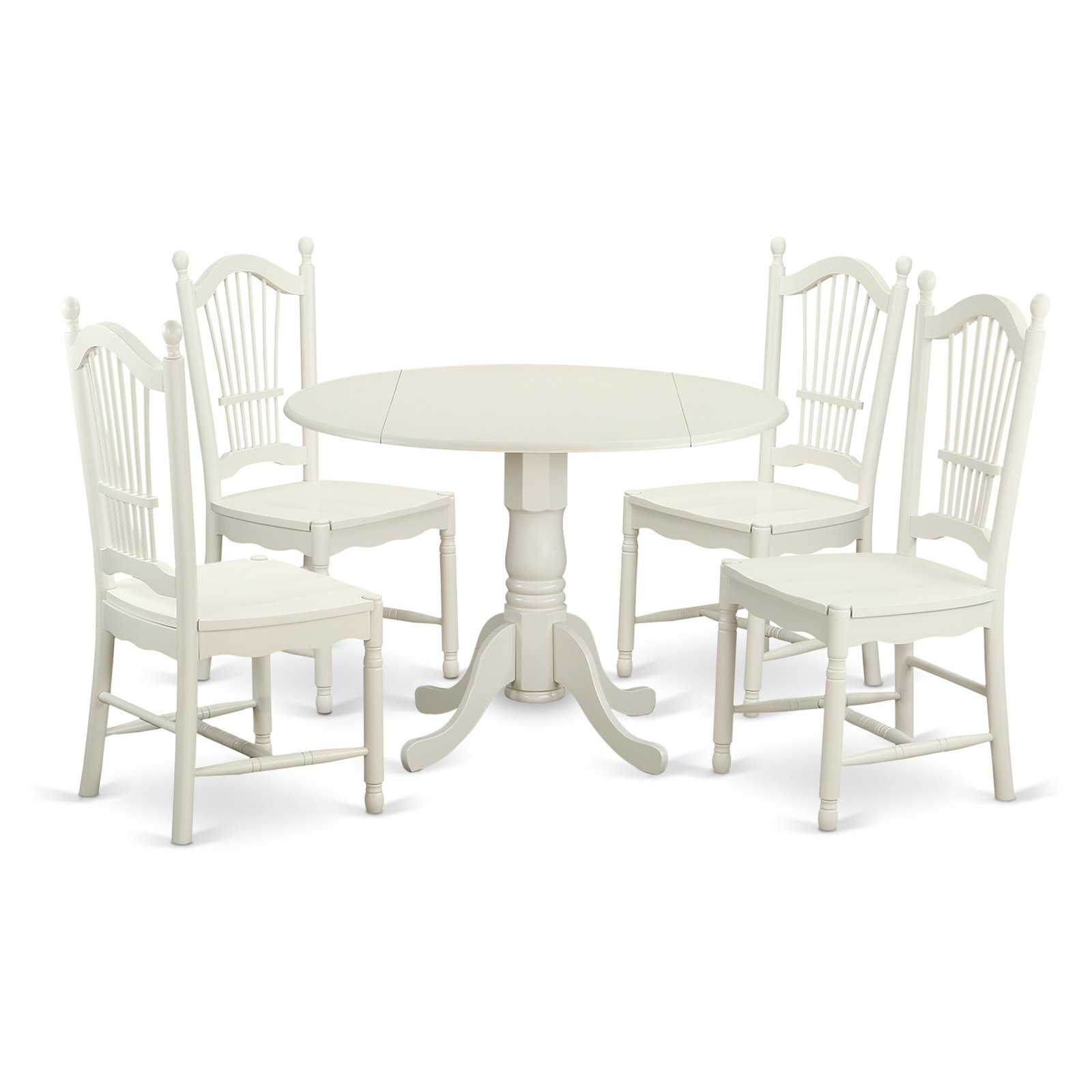 East West Furniture Dublin 5 Piece Drop Leaf Dining Table Set with Dover Wooden Seat Chairs