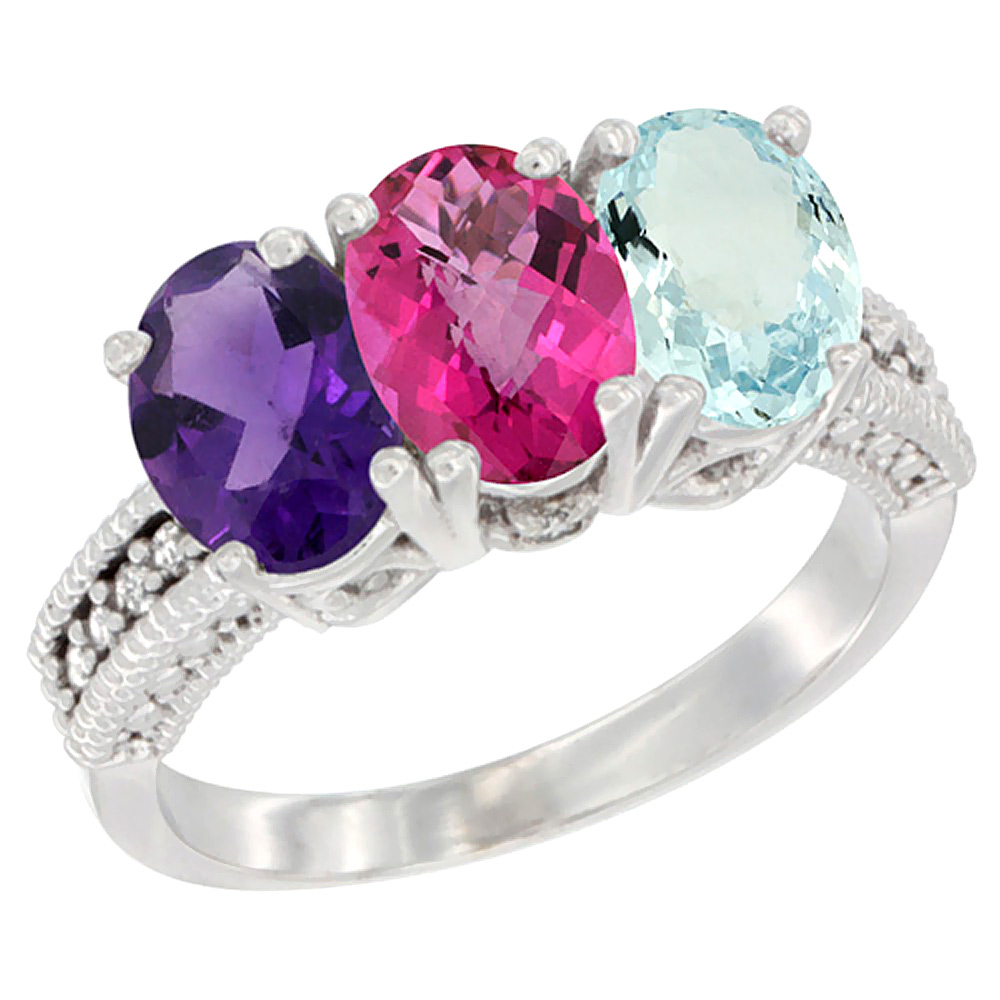 10K White Gold Natural Amethyst, Pink Topaz & Aquamarine Ring 3-Stone Oval 7x5 mm Diamond Accent, sizes 5 10 by WorldJewels