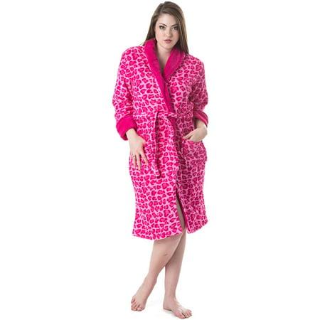 Casual Nights - Casual Nights Women s Animal Print Fleece Plush Robe ... 6fbf4be3b