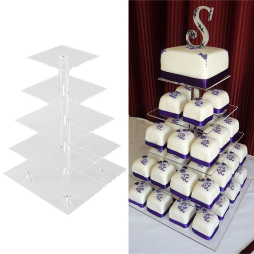 Cup Cake Holder With Base Feet 5 Tie Round Acrylic Cupcake Display Stand by