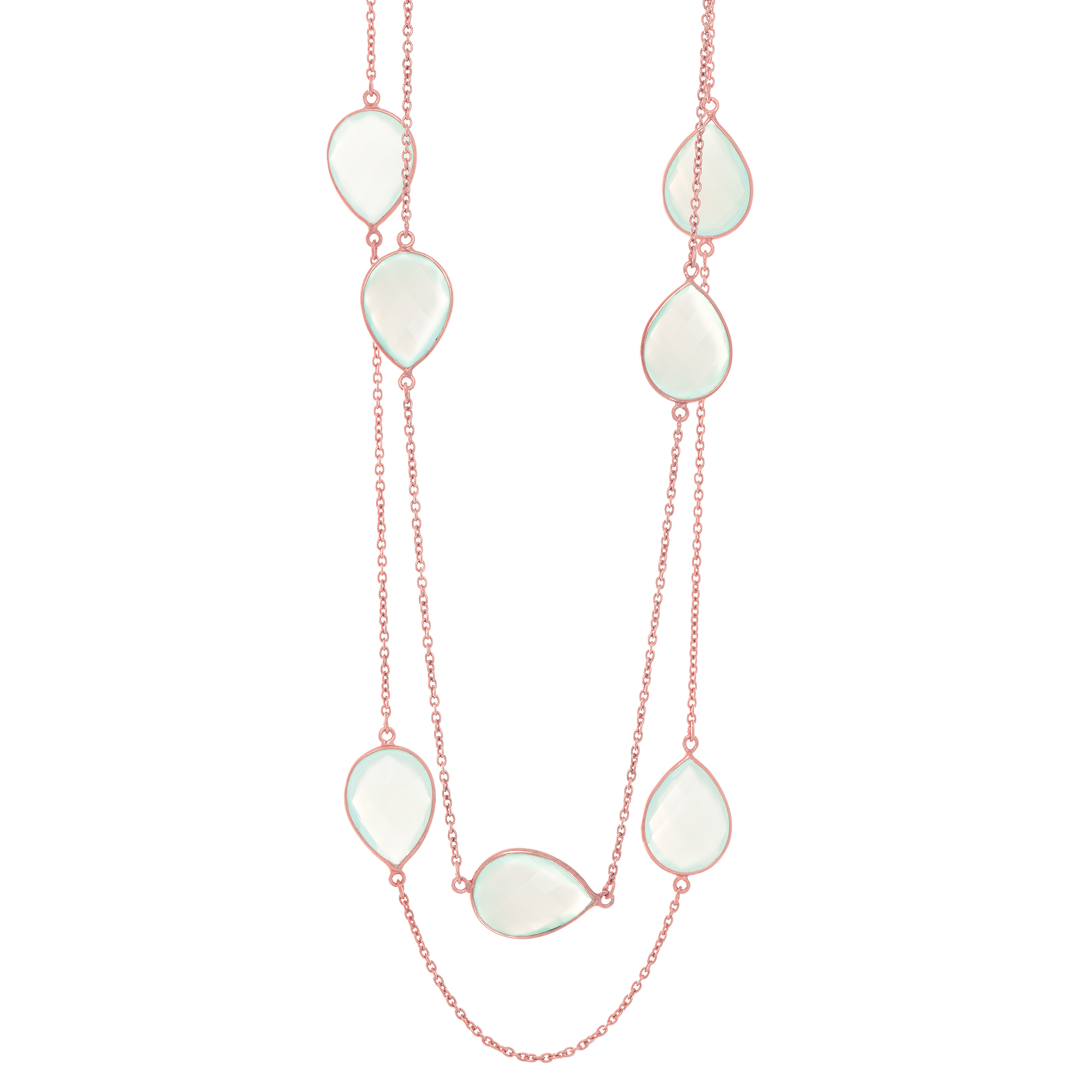 "Sterling Silver Rose Finish 20mm Aqua Chalcedony Long Necklace, 38"" by"