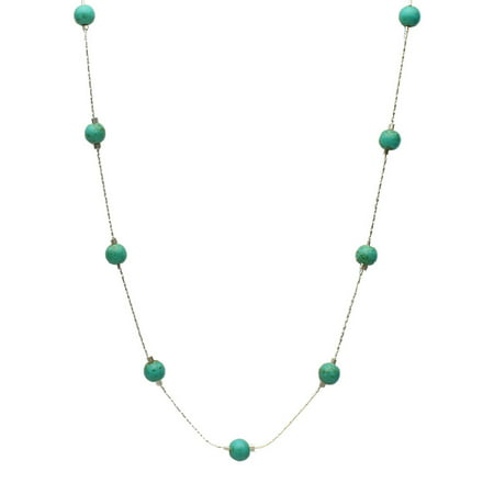 Simulated Turquoise Stone Illusion Station Sterling Silver Chain Necklace, 16