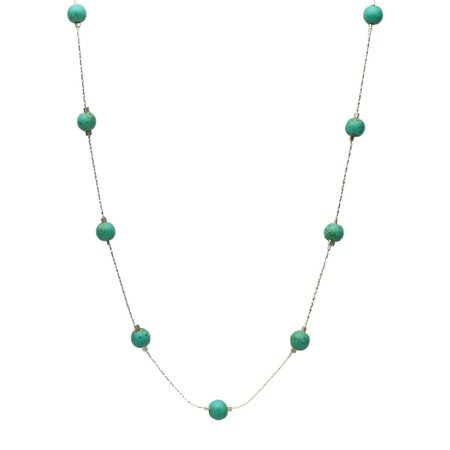 Simulated Turquoise Stone Illusion Station Sterling Silver Chain Necklace, (Illusion Style Necklace)