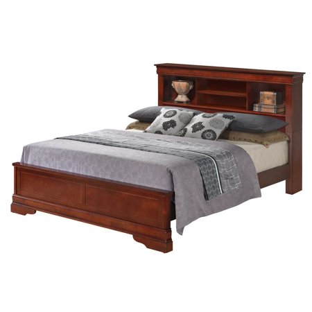 Traditional Platform Bed With Bookcase Headboard In Cherry