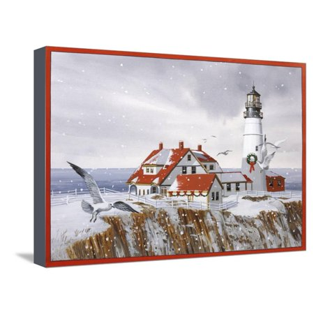 Winter Lighthouse Stretched Canvas Print Wall Art By William ...