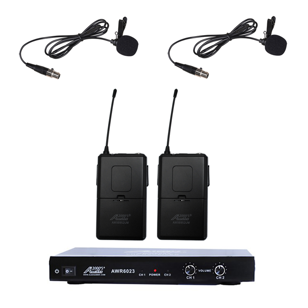 Audio2000s 6023VM VHF Ultra-Slim Wireless Microphone w  2 Lapel (Lavalier) by