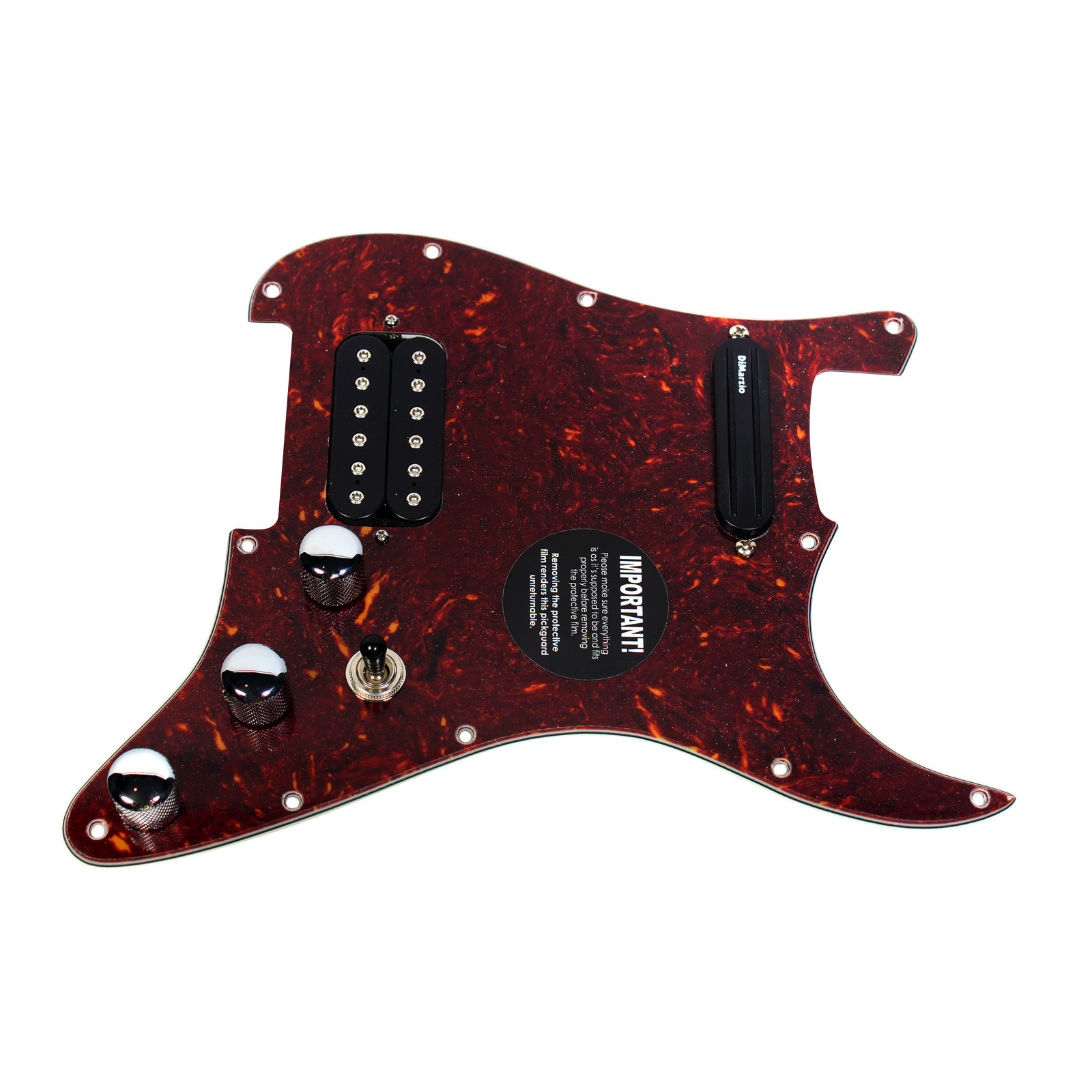 920D Strat Loaded Pickguard with DiMarzio Satriani Satch Track   Mo' Joe TO BK by