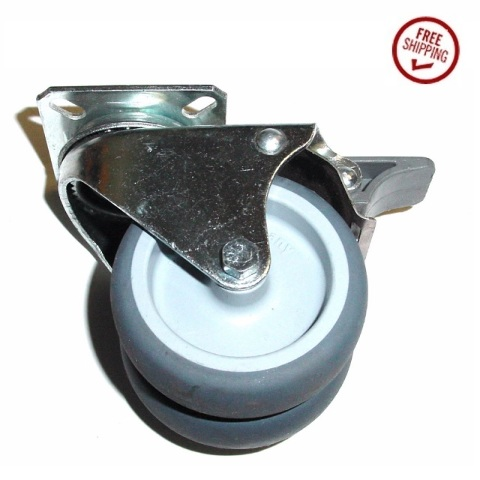 """Blickle Dual Wheel Soft Rubber Swivel Caster w 3"""" Wheels and Small Square Plate"""