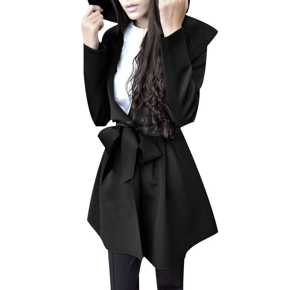 Women Belt Loop Belted Waist Long Sleeve Black Trench Hoodie Coat L