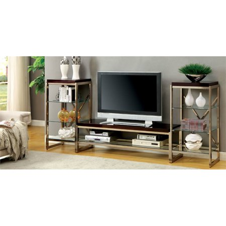 Furniture of America Ruptin 3 Piece Entertainment Center Set in Gold