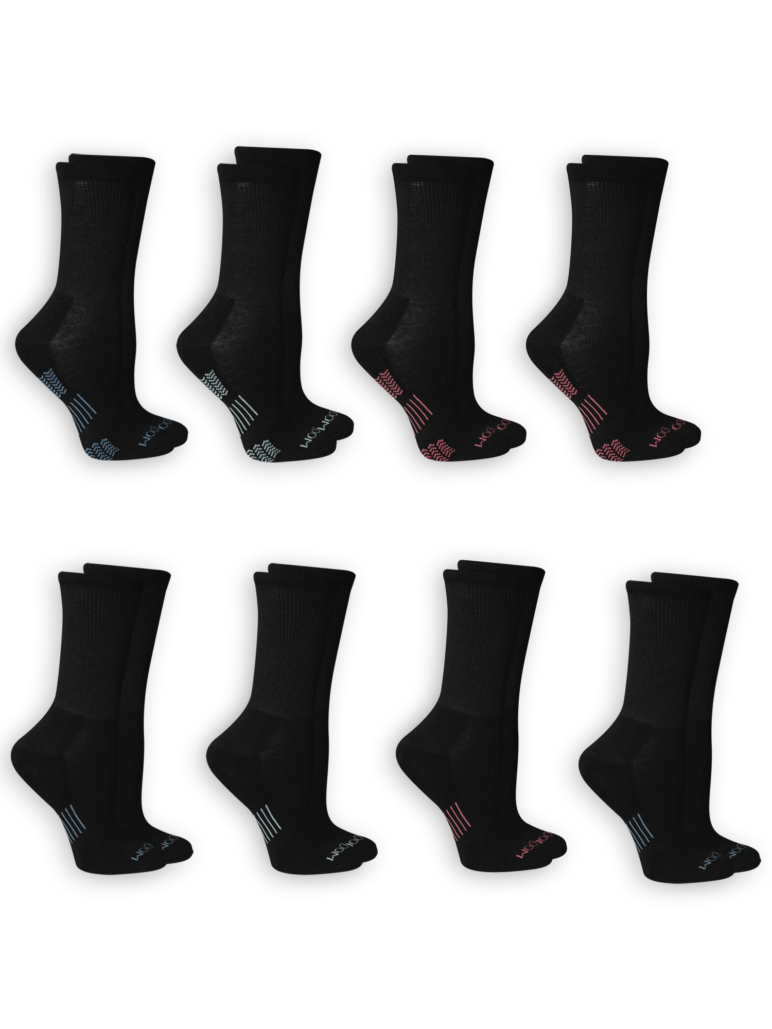Women's Everyday Active Cushioned Crew Socks 8 Pair